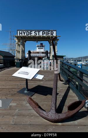 Eureka (ferryboat) at Hyde Street Pier, Fisherman's Wharf, San Francisco, California, USA. - Stock Photo