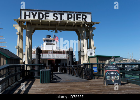 Eureka (ferryboat) at Hyde Street Pier, Fisherman's Wharf, San Francisco, California, USA. - Stock Photo