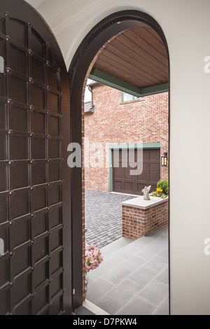 Modern Italian home entrance with courtyard. - Stock Photo
