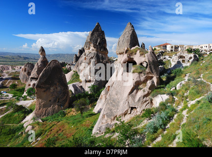 Uchisar is the highest village in Cappadocia, visible for a great distance. Turkey - Stock Photo