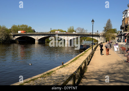 Riverside at Staines on Thames Surrey - Stock Photo