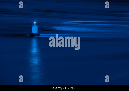 French Pass at dawn and a beam of light from the mid channel marker - in effect the starboard buoy for boats going - Stock Photo