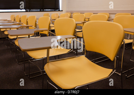 Empty classroom desks and chairs - USA - Stock Photo