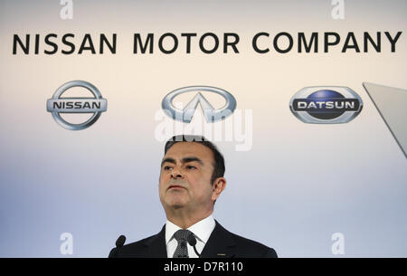 May 10, 2013 - Yokohama, Japan - Nissan Motor Corp. CEO Carlos Ghosn speaks during a news conference held at the - Stock Photo