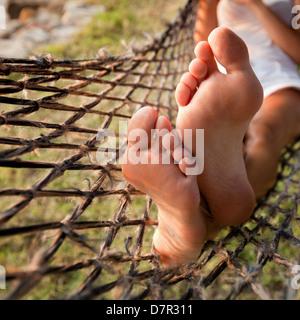 relax in hammock, lazy vacations - Stock Photo