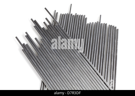 A stack of round bundled alumnium rods - Stock Photo