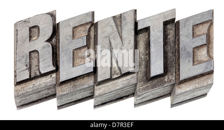 Metal printing setting, old letters made of lead for letterpress printing, German word for pension - Stock Photo