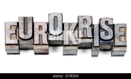 Metal printing setting, old letters made of lead for letterpress printing - Stock Photo