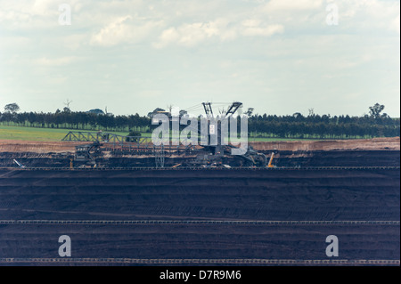 The Loy Yang power stations' open cut brown coal mine in Victoria, Australia. - Stock Photo