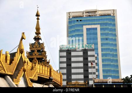 AGD bank and Sule PagodaYangon Myanmar - Stock Photo