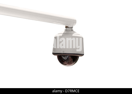 Outdoor security camera isolated with clipping path. - Stock Photo