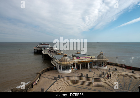 Cromer Pier on a Windy Day in April -1 - Stock Photo