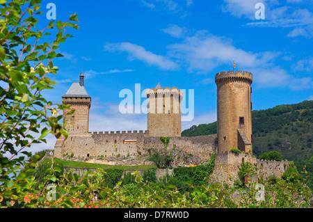 Castle of Foix (Chateau de Foix) . Cathar country. Ariege, Midi Pyrénées, France. - Stock Photo