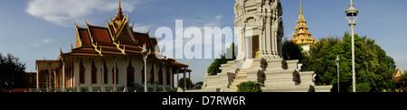 Silver Pagoda compound next to Royal Palace; Phnom Penh; Cambodia - Stock Photo