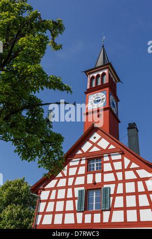 Old school building in Neerach, Canton of Zurich, Switzerland. - Stock Photo