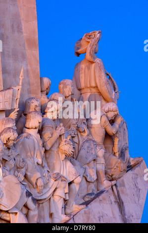 Monument to the Discoveries at Dusk, Padrao dos Descobrimentos, Belem, Lisbon, Portugal - Stock Photo