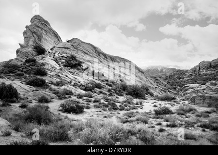 Vasquez Rocks along the San Andreas earthquake fault in the Santa Clarita Valley, near Los Angeles California USA - Stock Photo