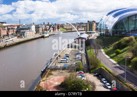 Newcastle City Skyline with the Millennium Bridge and The Sage in the distance. - Stock Photo