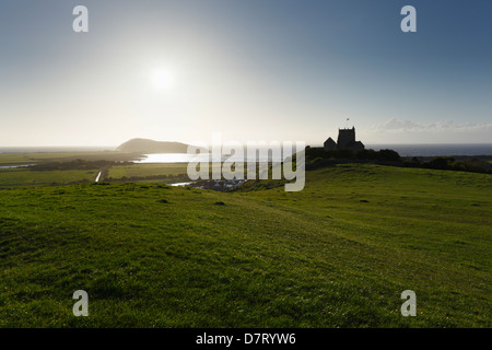 The Old Church of St Nicholas and Brean Down. Uphill, near Weston-super-Mare, Somerset. England. UK. - Stock Photo