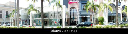 panoramic view of luxury shopping street of Rodeo Drive; Beverly Hills; California USA - Stock Photo