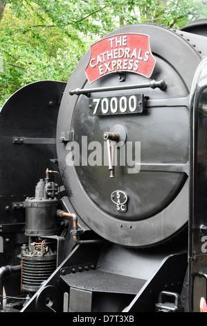 Smokebox door and front end of British Railways standard class steam locomotive No 70000 Britannia - Stock Photo