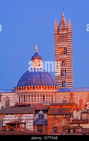 Siena, Duomo, Cathedral, Duomo Cathedral at Sunset, UNESCO World Heritage Site,Tuscany, Italy, - Stock Photo