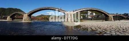 Kintaikyo Bridge in Iwakuni City, Yamaguchi Prefecture, Japan. - Stock Photo