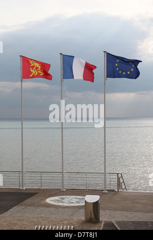 Three flags: Normandy, France and the European Union. Taken in Normandy France. - Stock Photo