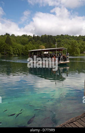 Waterfalls and lakes of the National Park Plitvice Lakes, a UNESCO World Heritage Site, at Croatia in May - Stock Photo