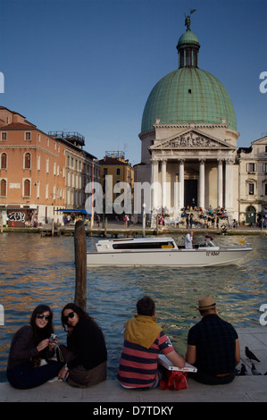 San Simeone Piccolo church and Grand Canal. View as you step out of Santa Lucia train station, Venice, Italy. - Stock Photo