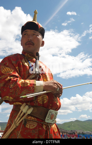 archery competition during the biggest festival in mongolia caaled Naadam - Stock Photo