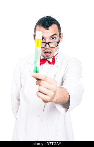 Portrait of shocked scientist in lab coat holding test tube, isolated on white background - Stock Photo