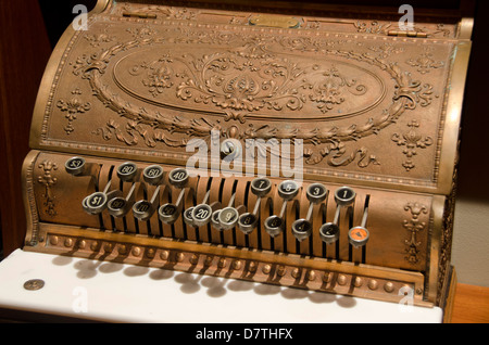 Wisconsin, Manitowoc. Wisconsin Maritime Museum at Manitowoc. Vintage cash register. - Stock Photo