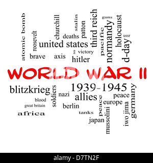 World War II Word Cloud Concept in red caps with great terms such as guns, axis, allies, victory and more. - Stock Photo