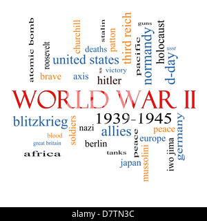 World War II Word Cloud Concept with great terms such as guns, axis, allies, victory and more. - Stock Photo