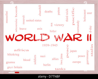 World War II Word Cloud Concept on a Whiteboard with great terms such as guns, axis, allies, victory and more. - Stock Photo