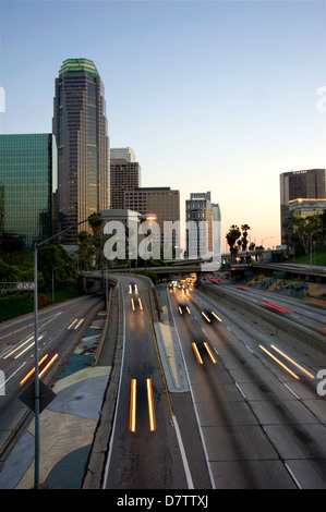 Downtown Los Angeles at dusk - Stock Photo