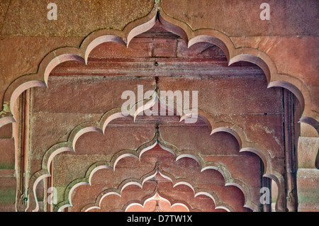Architectural detail of arches in the 'Mail Hall' in the 'Hall of Public Audience' in the Red Fort in Delhi, India