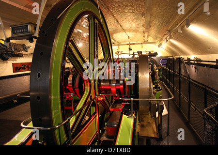 Engines for lifting gear, Tower Bridge, London, England, United Kingdom - Stock Photo