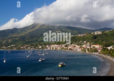 St. Pierre Bay, with Mont Pelee behind, scene of 1902 volcanic disaster, Martinique, Windward Islands, West Indies, - Stock Photo