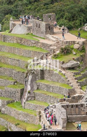 Machu Picchu, UNESCO World Heritage Site, Aguas Calientes, Peru, South America - Stock Photo