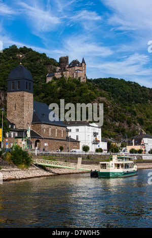 Castle Stahleck above the village of Bacharach in the Rhine valley, Rhineland-Palatinate, Germany - Stock Photo