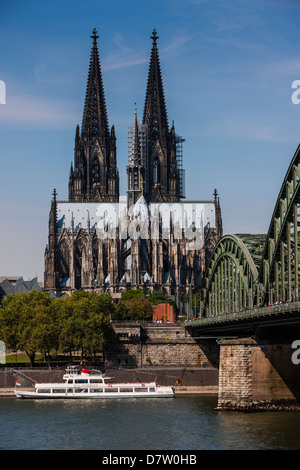 Rhine bridge and Cathedral of Cologne, UNESCO World Heritage Site, River Rhine, Cologne, North Rhine-Westphalia, - Stock Photo
