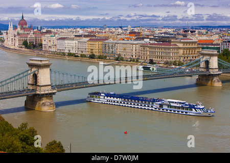 Chain bridge across the River Danube, Budapest, Hungary - Stock Photo