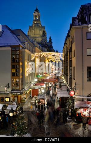 Dresden, Weihnachtsmarkt Münzgasse, Sachsen, Deutschland - Stock Photo