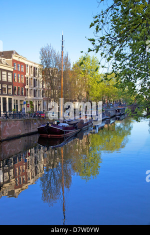 Boats on Brouwersgracht, Amsterdam, Netherlands - Stock Photo