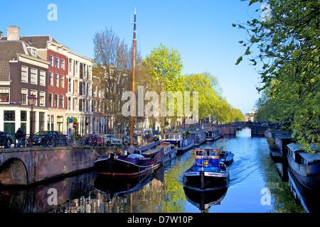 Boats on Brouwersgracht, Amsterdam, Netherlands - Stock Photo