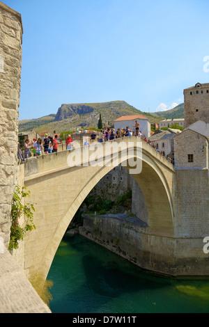 Stari Most (New Old Bridge), UNESCO World Heritage Site, Mostar, Bosnia, Bosnia-Herzegovina - Stock Photo