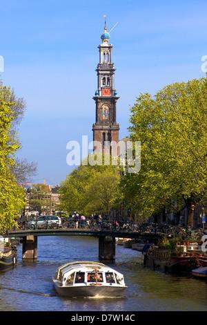 Westerkerk Tower and Prinsengracht Canal, Amsterdam, Netherlands - Stock Photo