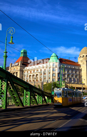 Gellert Hotel and Spa, Liberty  Bridge and tram, Budapest, Hungary - Stock Photo